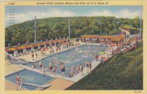 Pennsylvania Uniontown Summit Hotel Cabana Beach and Swimming Pool 1949 Curteich