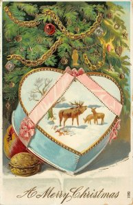 LP75    Christmas Tree Antique Candy Box Holiday Vintage Postcard gel finish