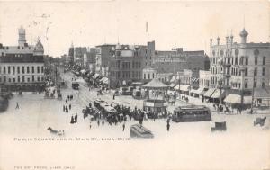 Lima Ohio~N Main Street @ Public Square~Crowd @ Pavilion/Trolley~Hoover Bros~'05