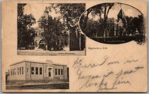 ROSWELL, New Mexico Postcard High School, Library Court House 1906 RPO Cancel