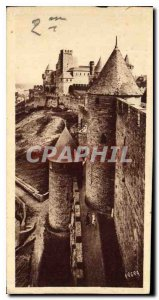 Old Postcard Carcassonne Tower of the Inquisition and Chateau Comtel