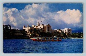 Waikiki Beach HI, Outrigger Canoeing Royal Hawaiian Hotel Chrome Hawaii Postcard