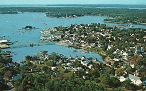 Aerial View of Boothbay Harbor Region, Maine, ME, Chrome Vintage Postcard g8264