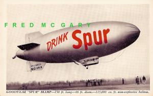 1946 Ad Postcard: Canada Dry Spur Cola Blimp Advertising