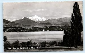 *Lac de Geneve Geneva Switzerland Mont Blanc Vintage Real Photo Postcard C92