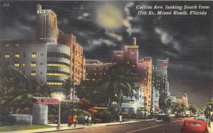 Miami Beach Florida~Collins Avenue South @ 17th Street at Night~Shelbourne~1940s