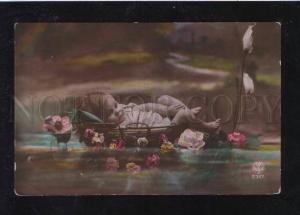 069488 Girl as Mermaid WATER LILY Vintage PHOTO