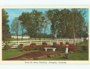 Pre-1980 ANTIQUE LAWN JOCKEY ORNAMENT AT HORSE CEMETERY Lexington KY E3164