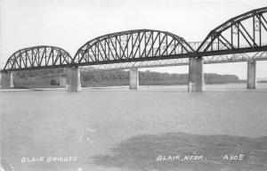 Blair Nebraska~2 Steel Bridges Spanning River~Note on Back~1947 RPPC-Postcard