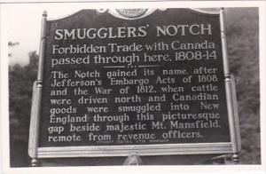 Vermont Jeffersonville Smugglers' Notch Sign Real Photo