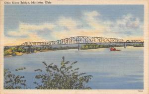 Marietta Ohio~Ohio River Bridge~Boat on Ohio River 1947 Linen Postcard