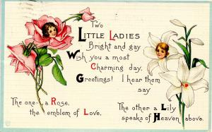 The Rose and the Lily Greeting (Floral with Girl's Head)