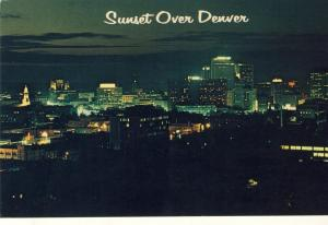 Awesome Denver, Colorado/CO Postcard, Sunset Over Denver