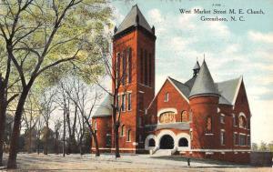 Greensboro North Carolina West Market Street Scene Antique Postcard K103372