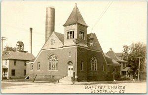 1912 ELDORA IOWA Real Photo RPPC Postcard BAPTIST CHURCH Building / Street View