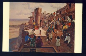 Polacca,  Arizona/AZ Postcard, Hopi Indian Home Dance Painting, Charles Damrow