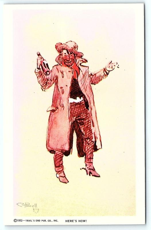 Postcard A/S 1952 Trail's End Artist Charles M Russell Heres How Cowboy Drinking