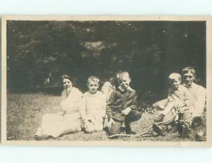 Old rppc GROUP OF PEOPLE Great Postcard AB1281