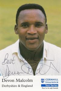 Devon Malcolm Derbyshire England Cricket Club Team Player Hand Signed Photo