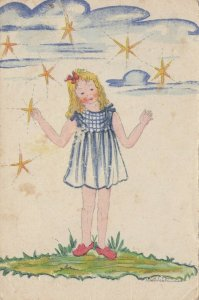 Girl catches stars in hand , 1910-20s