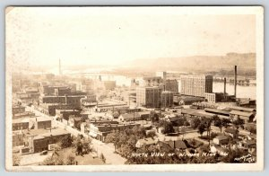 Winona Minnesota~North Birdseye View~Downtown Main Street~Flour Mill~c1922 RPPC