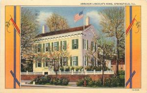 Springfield Illinois~Abraham Lincolns Home~Art Deco Border~1931 Linen Postcard