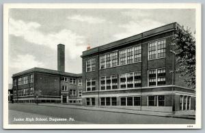 Duquesne Pennsylvania~Junior High School~1944 CT Photo Finish B&W Postcard