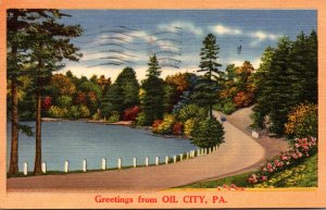 Pennsylvania Greetings From Oil City 1955