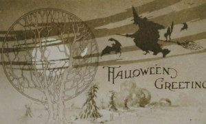 Vintage Halloween Postcard Gibson Witch Flying By Tree Of Life Black Cat Bats