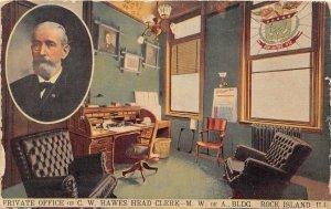 F88/ Rock Island Illinois Postcard 1911 C.W. Hawes Private Office Interior
