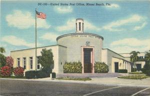 Miami Beach Florida~United States Post Office~1940s Linen Postcard