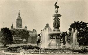 CT - Hartford. Bushnell Park. Corning Fountain, Capitol