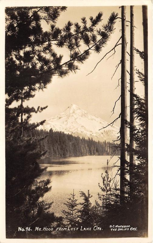 Lost Lake Oregon View of Mt Hood~Evergreen Trees in Front~c1930s RPPC-Postcard