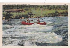 Wisconsin Rice Lake Canoeing On Scenic Cedar River 1944 Curteich