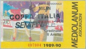 74237 - Vecchio  BIGLIETTO PARTITA CALCIO - 1989 / 1990 :  Semifinale - MILAN