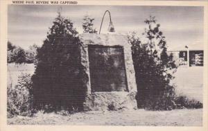 Massachusetts Lexington Boulder Marking Where Paul Revere Was Captured