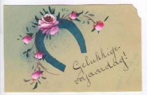 Hand painted Celluloid Postcard, Rose flowers, Horseshoe,  00-10s