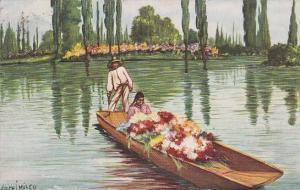 Woman & Man On A Boat, Xochimilco, Mexico, 1900-1910s