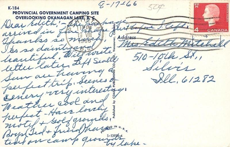 Okanagan Lake BC~Provincial Government Camping Site~Aerial View~1966 Postcard