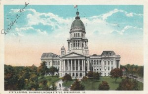 SPRINGFIELD , Illinois , 1925; State Capitol, showing Lincoln Statue