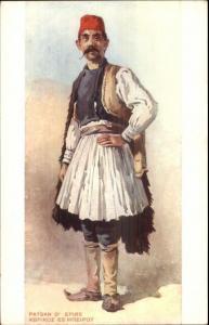 Greece Native Man in Costume Paysan D' Epire c1910 Postcard