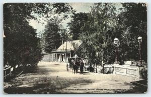 Cincinnati Ohio~Burnet Woods Park~Horse Buggy on Driveway~Lamp Posts Bridge~1912