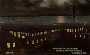 Rockland ME Sardine Factory by Night c1910 Postcard
