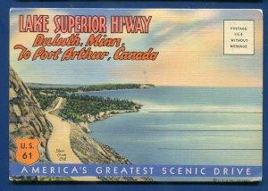 Lake Superior Hi-Way Duluth Minnesota mn to Port Arthur Canada postcard folder