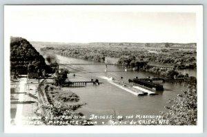 Marquette IA-Prairie du Chien WI~Railroad~Pontoon & Suspension Bridges~RPPC 1945