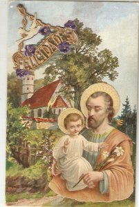St. Joseph with the Child Lovely old vintage spanish relifious PC