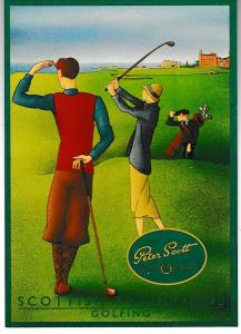 Post Card Peter Scott Scottish Knitwear Scottish Traditions Golfing