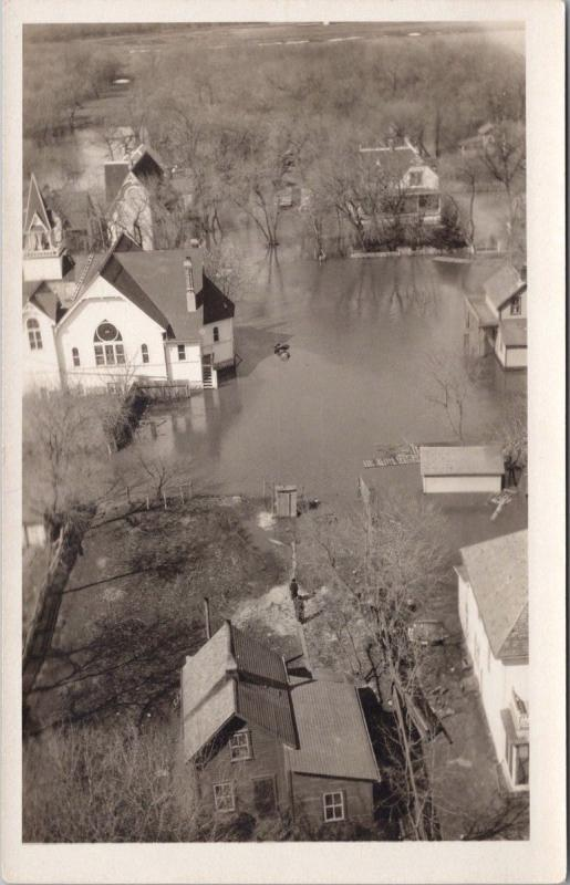 Town Flood Flooding Birdseye Unknown Location ?? Unused Real Photo Postcard E35