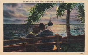 California San Diego Romantic Couple Under The San Diego Moon