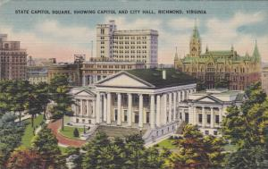 State Capitol Square Showing Capitol Bldg & City Hall Richmond, Virginia 1930...